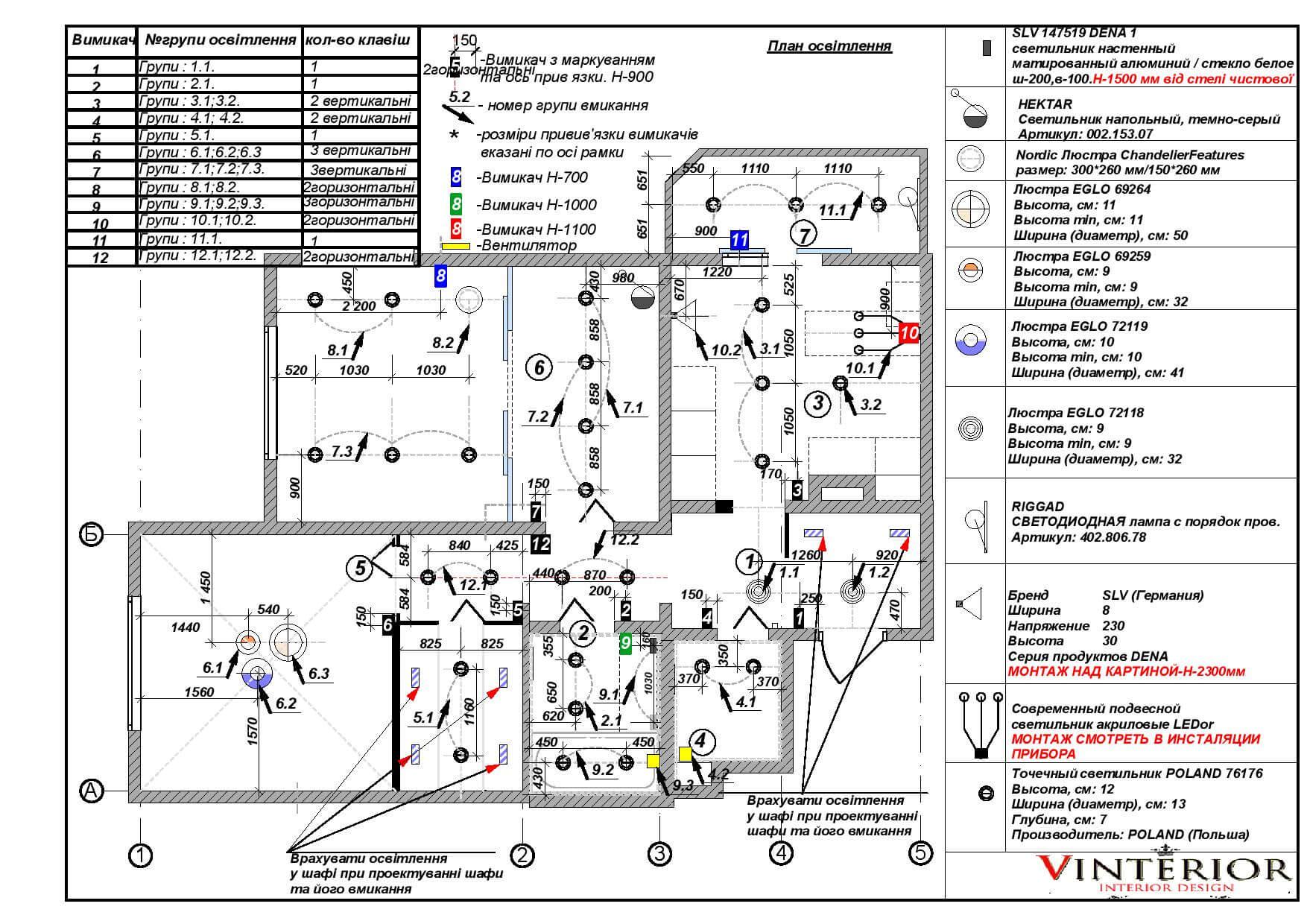 План освещения с разработкой групп включения, и размещением выключателей
